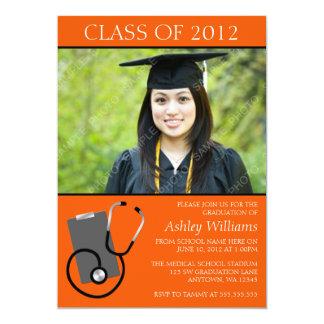Graduación anaranjada de la foto de la escuela de invitación 12,7 x 17,8 cm