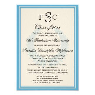 Graduación azul clara de la universidad del laurel invitación 11,4 x 15,8 cm