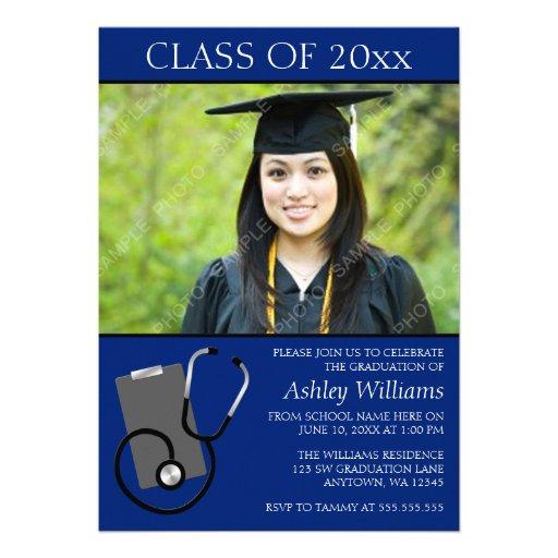 Graduación azul de la foto de la escuela de enferm invitacion personal