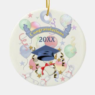 Graduación azul del mortero y del diploma adorno redondo de cerámica