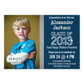 Graduación azul y gris del preescolar o de la invitación 12,7 x 17,8 cm
