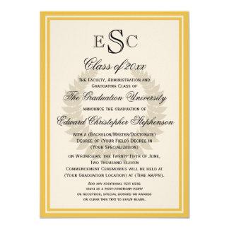Graduación clásica de la universidad del laurel invitación 11,4 x 15,8 cm