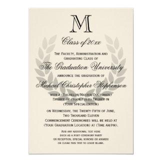 Graduación clásica de la universidad del monograma invitación 12,7 x 17,8 cm