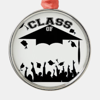 Graduación de encargo adorno redondo plateado