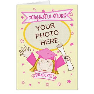 Graduación de encargo del preescolar/del chica de tarjeta de felicitación