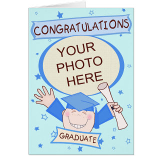 Graduación de encargo del preescolar del muchacho tarjeta