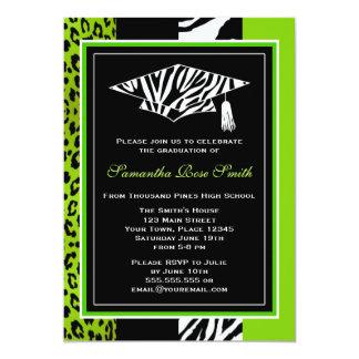 Graduación de la cebra y del estampado leopardo de invitación 12,7 x 17,8 cm