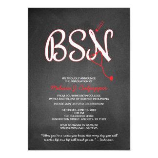 Graduación de la enfermera de BSN que fija Invitación 12,7 X 17,8 Cm
