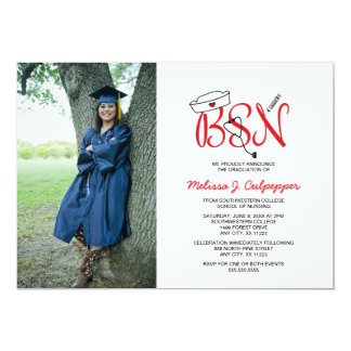 Graduación de la foto de la enfermera de BSN que Invitación 12,7 X 17,8 Cm
