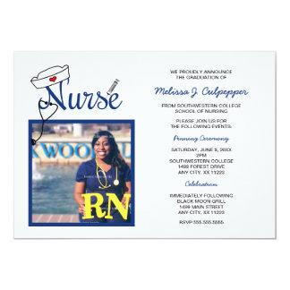 Graduación de la foto de la enfermera que invitación 12,7 x 17,8 cm