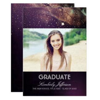 Graduación de la foto de la noche estrellada y de invitación 12,7 x 17,8 cm