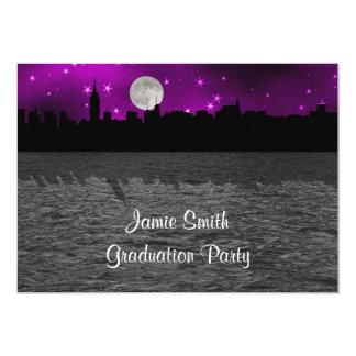 Graduación de la púrpura de la luna de la silueta invitación 12,7 x 17,8 cm