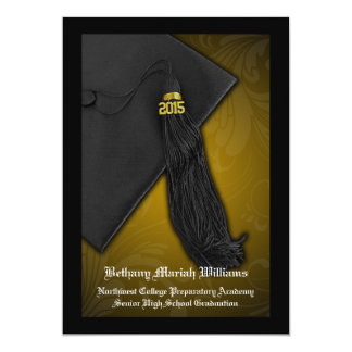 Graduación de la universidad de la borla del negro invitación 12,7 x 17,8 cm