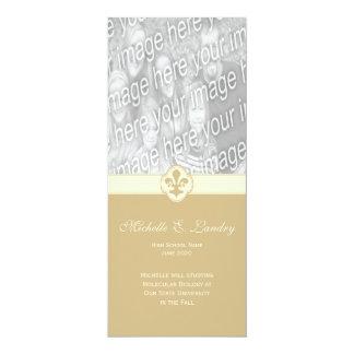 Graduación de lujo de la foto de la flor de lis invitación 10,1 x 23,5 cm