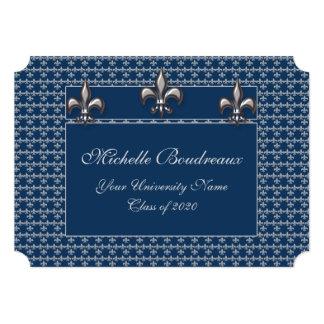 Graduación de plata azul del trío de la flor de invitación 12,7 x 17,8 cm
