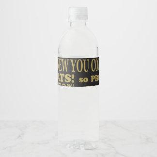 Graduación del negro y del oro etiqueta para botella de agua