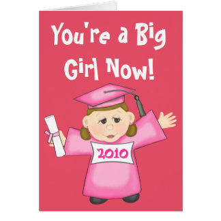 Graduación del preescolar/del chica de la tarjeta