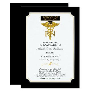 Graduación del RN de la enfermera de la escuela de Invitación 12,7 X 17,8 Cm