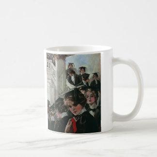 Graduación del vintage, ceremonia de comienzo taza de café