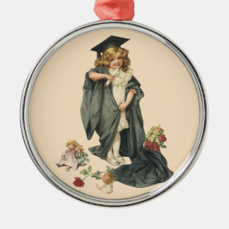 Graduación del vintage, clase de la enhorabuena de adorno redondo plateado