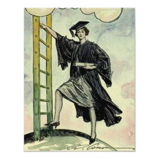 Graduación del vintage, subiendo la escalera invitación 10,8 x 13,9 cm