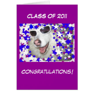 Graduación divertida del perro en púrpura tarjeta de felicitación