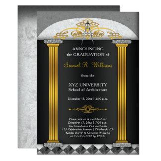 Graduación elegante del compás de la arquitectura invitación 12,7 x 17,8 cm