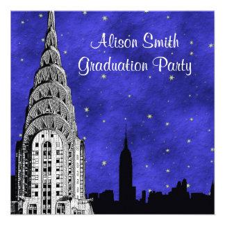 Graduación estrellada azul 2 de la silueta del hor comunicados