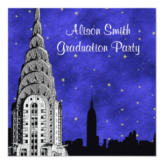 Graduación estrellada azul 2 de la silueta del invitación 13,3 cm x 13,3cm