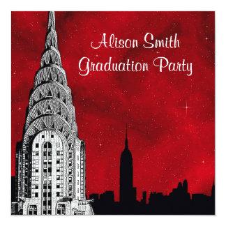 Graduación estrellada roja de la silueta del invitación 13,3 cm x 13,3cm