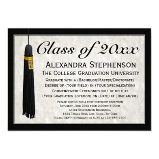 Graduación formal de la universidad de la borla invitación 12,7 x 17,8 cm