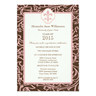 Graduación formal floral de la flor de lis rosada invitación 12,7 x 17,8 cm