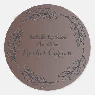 Graduación frondosa elegante del marco de Brown Pegatina Redonda