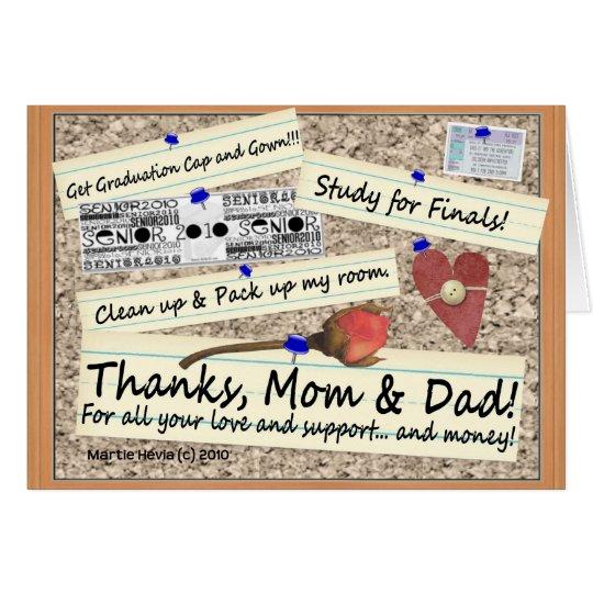 Graduación - gracias, mamá y papá - tarjeta