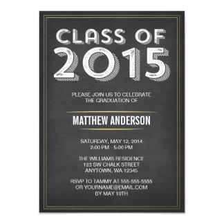 Graduación intrépida 2015 del oro de la pizarra invitación 11,4 x 15,8 cm