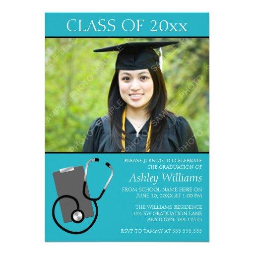 Graduación médica de la foto del trullo de la escu invitaciones personalizada
