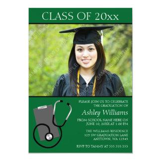 Graduación médica de la foto del verde de la invitaciones personalizada