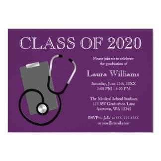 Graduación médica de la púrpura de la escuela de invitación 12,7 x 17,8 cm