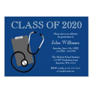 Graduación médica del azul de la escuela de invitación 12,7 x 17,8 cm