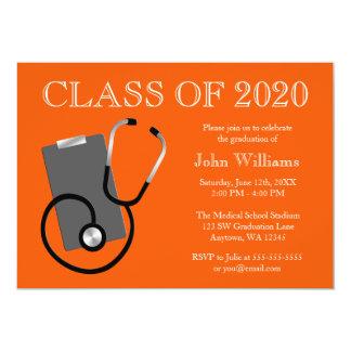 Graduación médica del naranja de la escuela de invitación 12,7 x 17,8 cm