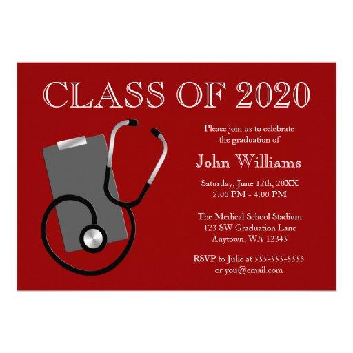 Graduación médica del rojo de la escuela de enferm anuncio personalizado