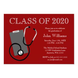 Graduación médica del rojo de la escuela de invitación 12,7 x 17,8 cm