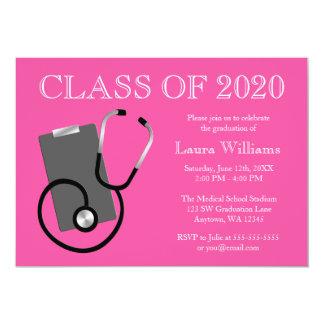 Graduación médica del rosa de la escuela de invitación 12,7 x 17,8 cm