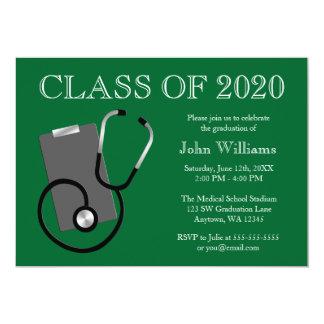 Graduación médica del verde de la escuela de invitación 12,7 x 17,8 cm