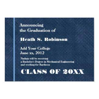 Graduación moderna azul y blanca de la universidad invitacion personal