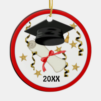 Graduación negra del mortero y del diploma adorno redondo de cerámica