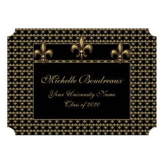 Graduación negra del trío de la flor de lis del invitación 12,7 x 17,8 cm