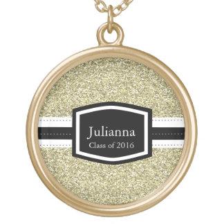 Graduación personalizada Bling del oro Colgante Redondo