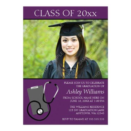 Graduación púrpura de la foto de la escuela de enf invitaciones personales