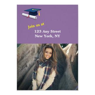 Graduación púrpura de la linterna del patio de la invitación 12,7 x 17,8 cm
